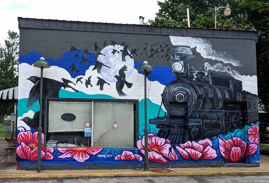 The latest public art project in the Moon City Creative District is this mural on the side of Rook's Auto Service at 1845 N. Grant Ave.