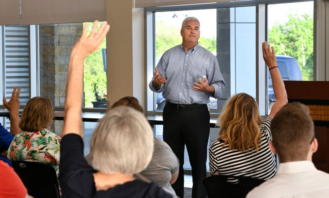 U.S. Rep. Tom Emmer answers a question during a town hall meeting Friday, June 7, at the Sauk Rapids Government Center.