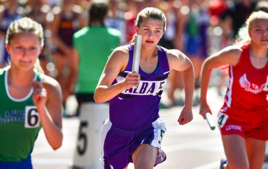 Megan Koglin leads off the 4x800 meter relay for Albany during the state Class A track meet Saturday, June 8, at Hamline University in St. Paul.