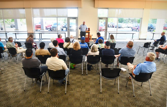 U.S. Rep. Tom Emmer speaks during a town hall meeting Friday, June 7, at the Sauk Rapids Government Center.