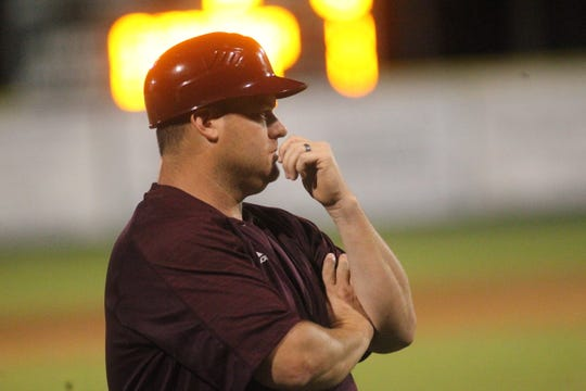 Madison County baseball coach Jason Fletcher during a 2018 regional final game against Lafayette.