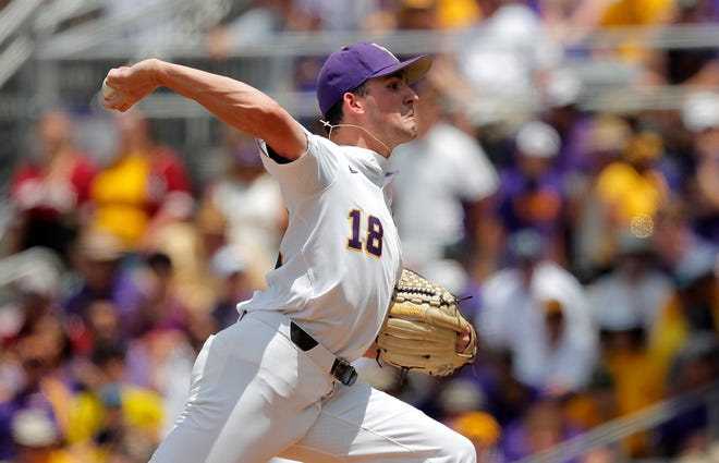 LSU pitcher Cole Henry (18) throws in the first inning against Florida State in Game 1 of the NCAA college baseball super regional tournament in Baton Rouge, La., Saturday, June 8, 2019. (AP Photo/Gerald Herbert)