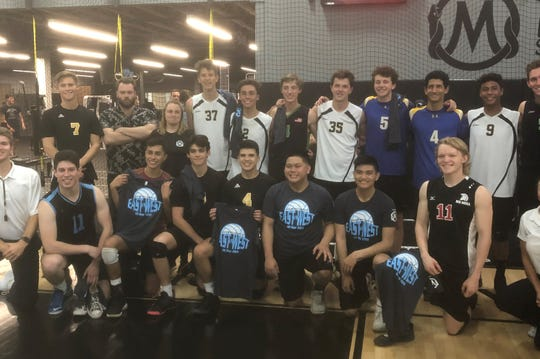 The all-stars pose for a photo after Friday night's all-star volleyball game.