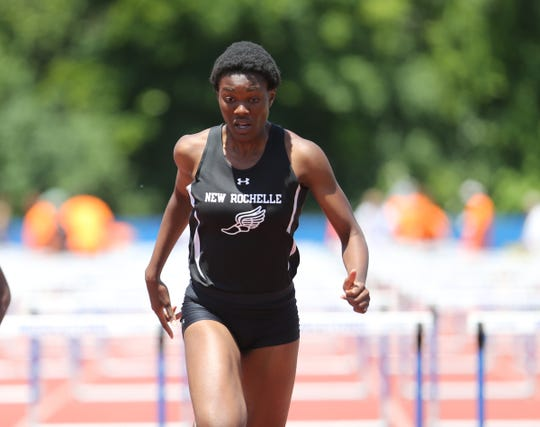 New Rochelle's Chiamaka Odenigbo competes in the 100-meter hurdles at the NYSPHSAA Track & Field Championships ar Middletown High School in  Middletown on Saturday, June 8, 2019.