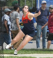 Horace Greeley's Kira Lindner competes in the discus throw during the New York State Track Championships in Middletown on June 7, 2019.