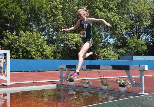 FDR's Sarah Trainor competes in the 2000-meter steeplechase at the NYSPHSAA Track & Field Championships ar Middletown High School in Middletown on Saturday, June 8, 2019.