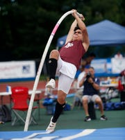 Fordham Prep's Miguel Negrete of Yonkers competes in the pole vault during the New York State Track Championships in Middletown on June 7, 2019.