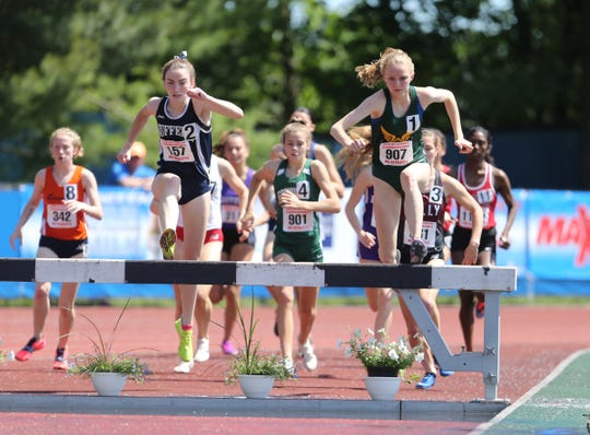 Suffern's Mary Hennelly comptetes in the 2000-meter steeplechase at the NYSPHSAA Track & Field Championships ar Middletown High School in  Middletown on Saturday, June 8, 2019.