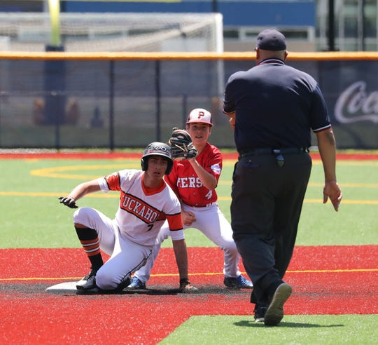 Tuckahoe's Matthew Mondrone is safe at second base as Pierson's Christian Pantina takes the throw, during their Class C state regional baseball game at Pace University in Pleasantville, June 8, 2019.