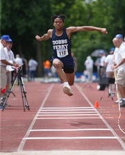 Dobbs Ferry's Jelani Williams competes in the triple jump during the New York State Track Championships in Middletown on June 7, 2019.