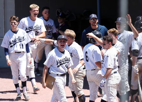 Suffern players cheer a run in the 5th inning against Kingston during the Class AA state regional final game at Cantine Field in Saugerties, NY June 8, 2019. Suffern won the game 8-6.