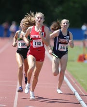 Tappan Zee's Tori Fears runs a leg of the 4x800-meter relay at the NYSPHSAA Track & Field Championships ar Middletown High School in  Middletown on Saturday, June 8, 2019.