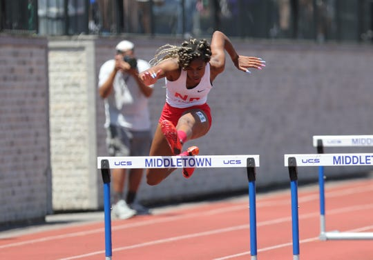 North Rockland's Torre Inzar competes in the 100-meter hurdles at the NYSPHSAA Track & Field Championships ar Middletown High School in  Middletown on Saturday, June 8, 2019.