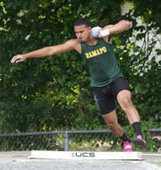 Ramapo's Anthony Harrison during the shot put at the New York State Track Championships in Middletown on June 7, 2019.
