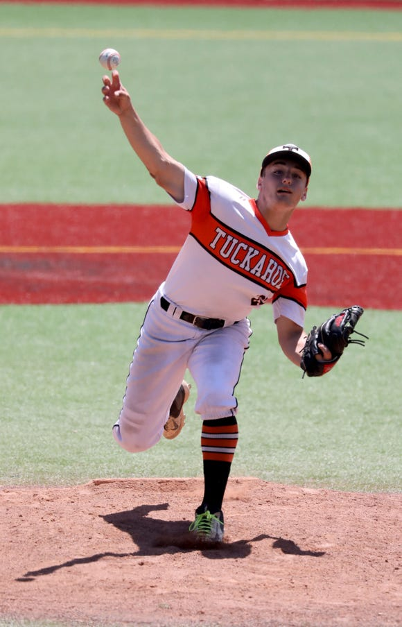 Tuckahoe starting pitcher Michael Meyers delivers a pitch against Pierson, during their Class C state regional baseball game at Pace University in Pleasantville, June 8, 2019.