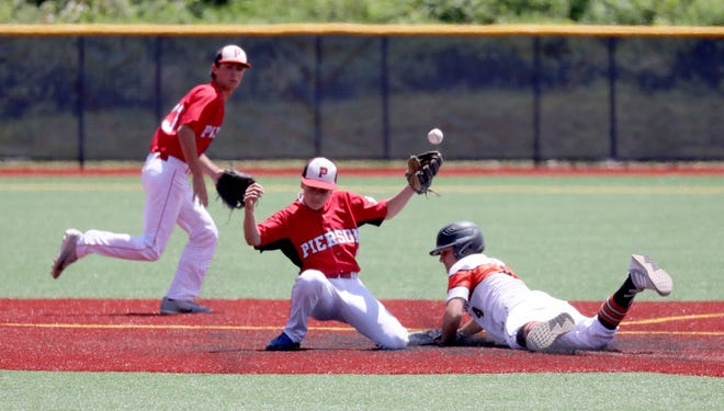Tuckahoe's Justin Lee steals second base as Pierson's Christian Pantina loses control of the ball, during their Class C state regional baseball game at Pace University in Pleasantville, June 8, 2019.