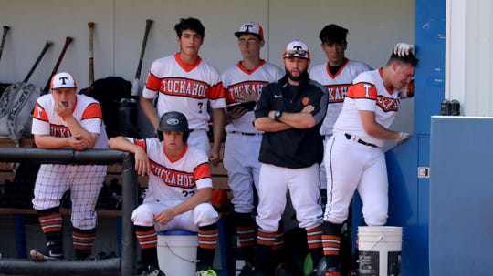 The Tuckahoe team watch from their dugout as they lose to Pierson, 5-2, in their Class C state regional baseball game at Pace University in Pleasantville, June 8, 2019.