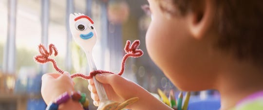 "Forky (voiced by Tony Hale) is a craft project who believes he's trash and not a toy in ""Toy Story 4."""