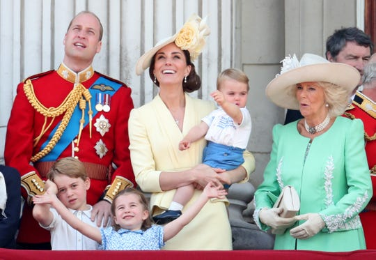 Prince Louis, Prince George, Prince William, Princess Charlotte, Duchess Kate and Duchess Camilla during Trooping The Colour, the Queen's annual birthday parade, on June 8, 2019 in London.