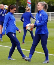USWNT stars Alex Morgan and Julie Ertz at training on Saturday.