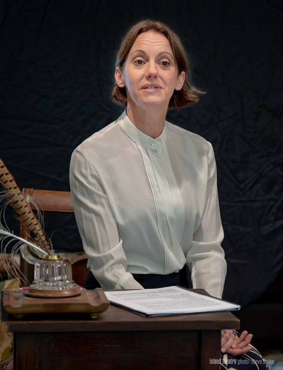 "Jennifer Hodges as Emily Dickinson in ""The Belle of Amherst."""