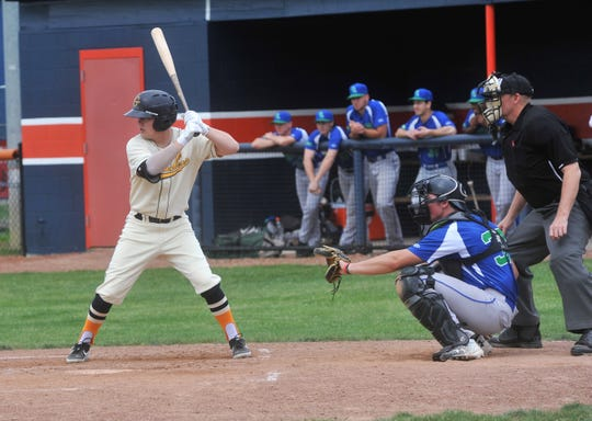 Galion Graders designated hitter Austin Harper eyes a pitch.