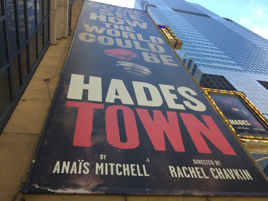 "A poster promoting ""Hadestown"" towers over 48th Street in Manhattan on June 9, 2019 from the side of the Walter Kerr Theatre, where the Tony Award-nominated musical is staged."