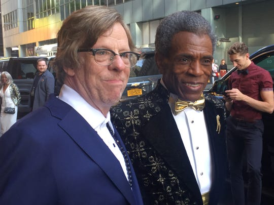"Vermont musician Michael Chorney and fellow Tony Award nominee Andre De Shields, who portrays Hermes in the Broadway musical ""Hadestown,"" pose for a photo as they prepare to leave for the Tony Award ceremony at Radio City Music Hall in New York City on June 9, 2019."
