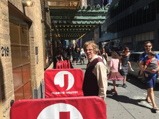 "Michael Chorney heads back into Walter Kerr Theatre in Manhattan following intermission at the Sunday matinee of ""Hadestown"" on June 9, 2019."