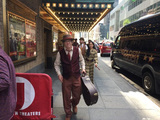 "Michael Chorney returns to the Walter Kerr Theatre in Manhattan, where ""Hadestown"" is staged, following rehearsals for the Tony Awards at Radio City Music Hall on June 9, 2019."