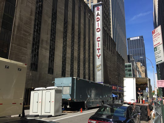 The block at 51st Street and 6th Avenue was cordoned off June 9, 2019, at the site of the Tony Awards at Radio City Music Hall in New York City.