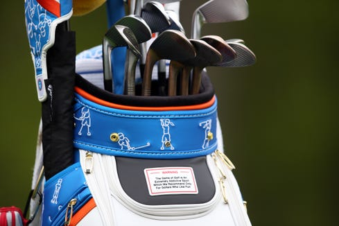 May 14, 2019: The golf bag of Lucas Herbert seen during a practice round for the PGA Championship golf tournament at Bethpage State Park - Black Course.
