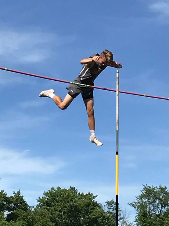 Watchung Hills' Bradley Jelmert competes in the pole vault at the Meet of Champions on Saturday at Northern Burlington High School.