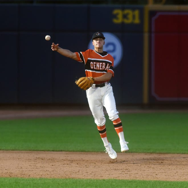 Memphis Cutshall throws to first base during Ridgewood's win against Canton Central Catholic in a Division III state semifinal last season. He will continue his career by playing baseball for Heidelberg.