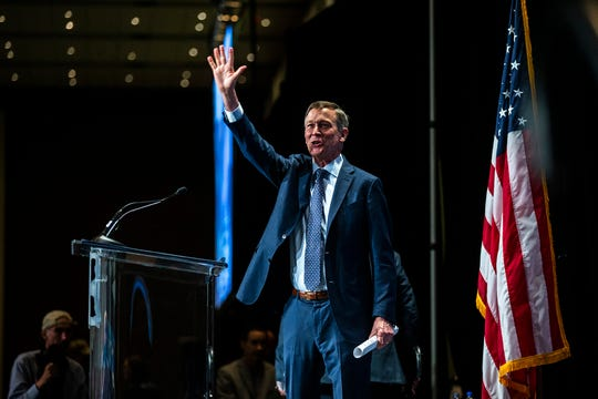 Former Colorado Gov. John Hickenlooper speaks during the Iowa Democratic Party Hall of Fame dinner, Sunday, June 9, 2019, at the DoubleTree by Hilton in Cedar Rapids, Iowa.
