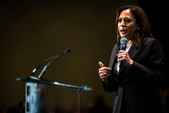U.S. Sen. Kamala Harris, D-Calif., speaks during the Iowa Democratic Party Hall of Fame dinner, Sunday, June 9, 2019, at the DoubleTree by Hilton in Cedar Rapids, Iowa.