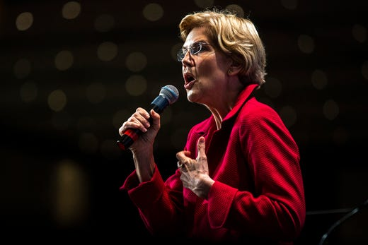 U.S. Sen. Elizabeth Warren, D-Mass., speaks during the Iowa Democratic Party Hall of Fame dinner, Sunday, June 9, 2019, at the DoubleTree by Hilton in Cedar Rapids, Iowa.