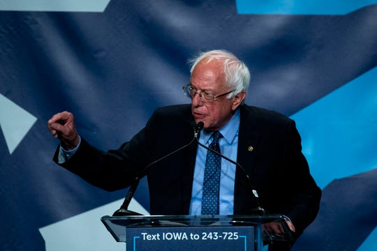 Vermont Sen. Bernie Sanders speaks during the Iowa Democratic Party's Hall of Fame event on Sunday, June 9, 2019, in Cedar Rapids.