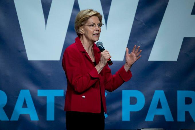 Massachusetts Sen. Elizabeth Warren speaks during the Iowa Democratic Party's Hall of Fame event on Sunday, June 9, 2019, in Cedar Rapids.