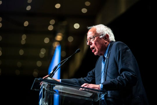 U.S. Sen. Bernie Sanders speaks during the Iowa Democratic Party Hall of Fame dinner, Sunday, June 9, 2019, at the DoubleTree by Hilton in Cedar Rapids, Iowa.