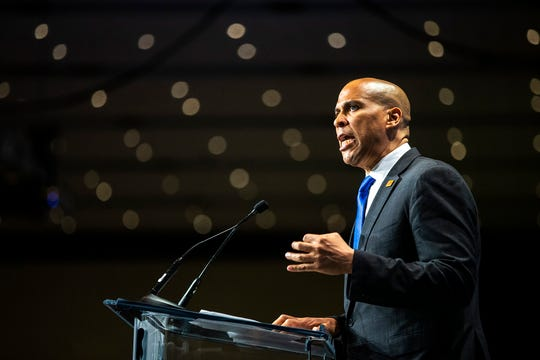U.S. Sen. Cory Booker, D-New Jersey, speaks during the Iowa Democratic Party Hall of Fame dinner, Sunday, June 9, 2019, at the DoubleTree by Hilton in Cedar Rapids, Iowa.