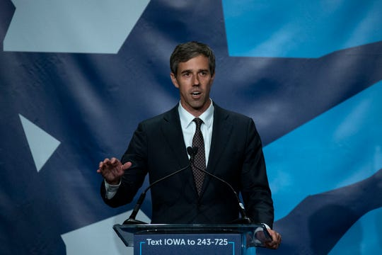 Former Texas U.S. Rep. Beto O'Rourke speaks during the Iowa Democratic Party's Hall of Fame event on Sunday, June 9, 2019, in Cedar Rapids.