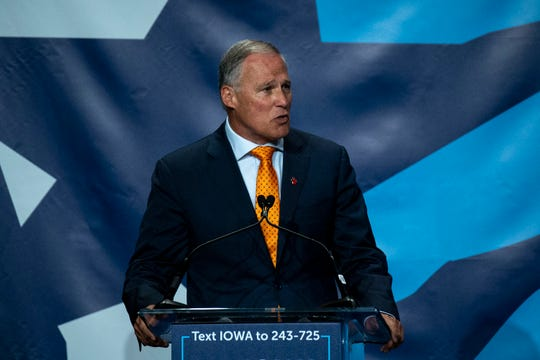 Washington Gov. Jay Inslee speaks during the Iowa Democratic Party's Hall of Fame event on Sunday, June 9, 2019, in Cedar Rapids.