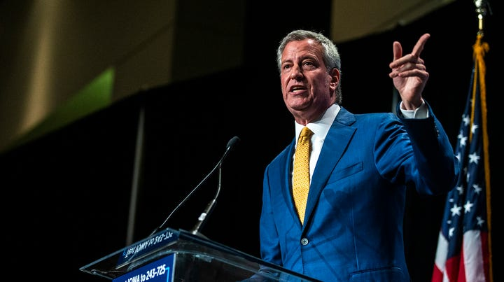 Democratic presidential candidate Bill de Blasio, mayor of New York, N.Y., speaks during the Iowa Democratic Party Hall of Fame dinner, Sunday, June 9, 2019, at the DoubleTree by Hilton in Cedar Rapids, Iowa.
