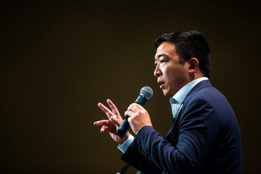 Democratic presidential candidate Andrew Yang speaks during the Iowa Democratic Party Hall of Fame dinner, Sunday, June 9, 2019, at the DoubleTree by Hilton in Cedar Rapids, Iowa.