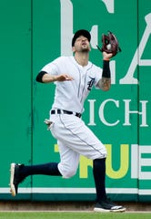 Detroit Tigers right fielder Nicholas Castellanos makes the catch on a fly ball hit by C.J. Cron of the Minnesota Twins during the fifth inning at Comerica Park on June 9, 2019 in Detroit.