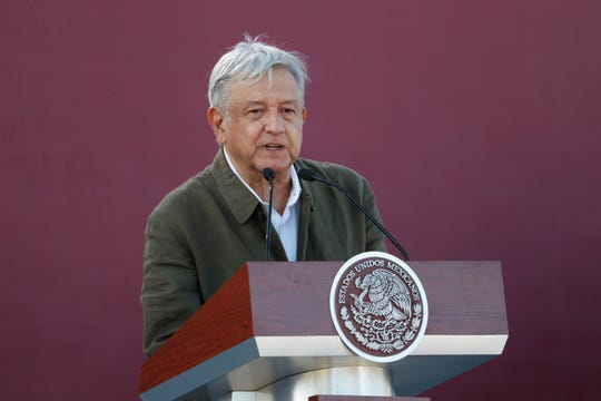 Mexican President Andres Manuel Lopez Obrador speaksduring a rally in Tijuana, Mexico, Saturday, June 8, 2019.