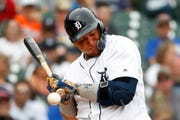 The Detroit Tigers' Miguel Cabrera is hit by a pitch from the Minnesota Twins' Jake Odorizzi in the sixth inning.