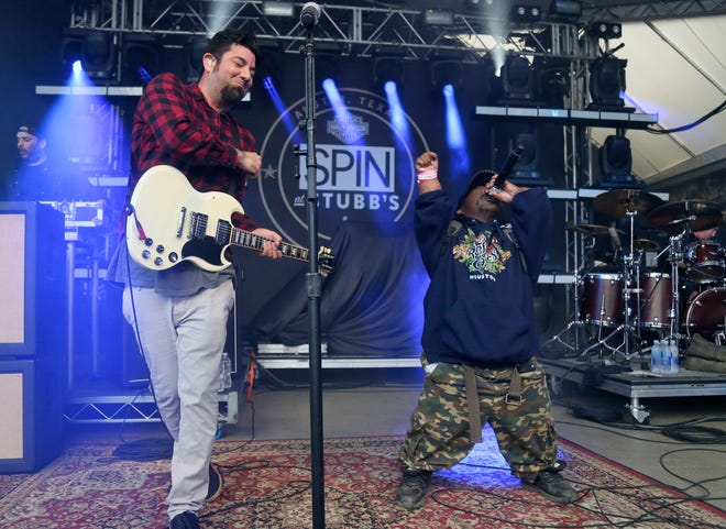 Bushwick Bill, right, joins Deftones' Chino Moreno onstage March 18. 2016, at the SPIN Party at Stubb's during the South by Southwest Music Festival in Austin, Texas.