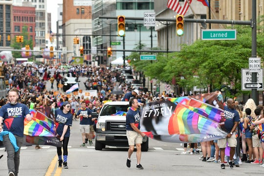 A group from Delta walks in Motor City Pride Parade on Griswold Street in Detroit on June 9, 2019.